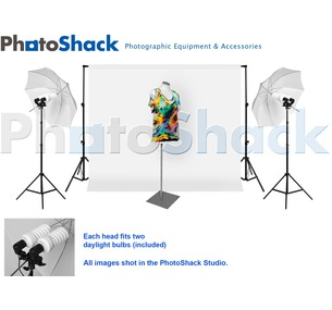 Complete Cool Light (1700w) Package with Umbrella Set + 3m Backdrop