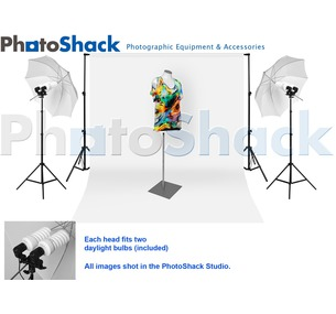 Complete Cool Light (1700w) Package with Umbrella Set + 6m backdrop