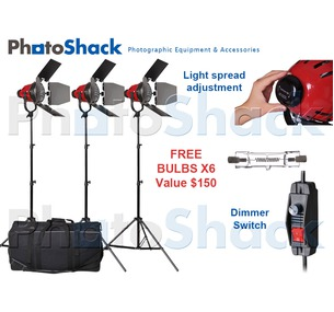 Red Head (w/ Heat Rings) Continuous (800w) 3 Light Stand Set with Carry Bag