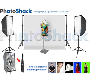Complete Cool Light Package (1700W equiv) with Softbox Set + 3m backdrop