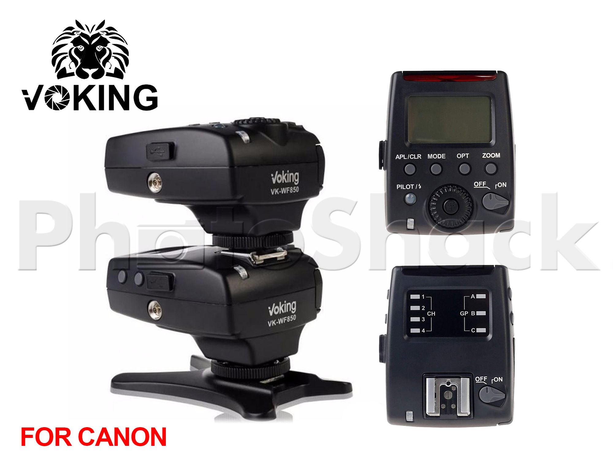 Voking VK-WF850 Receiver 2.4G Wireless 1/8000s HSS E-TTL Flash Trigger for Canon