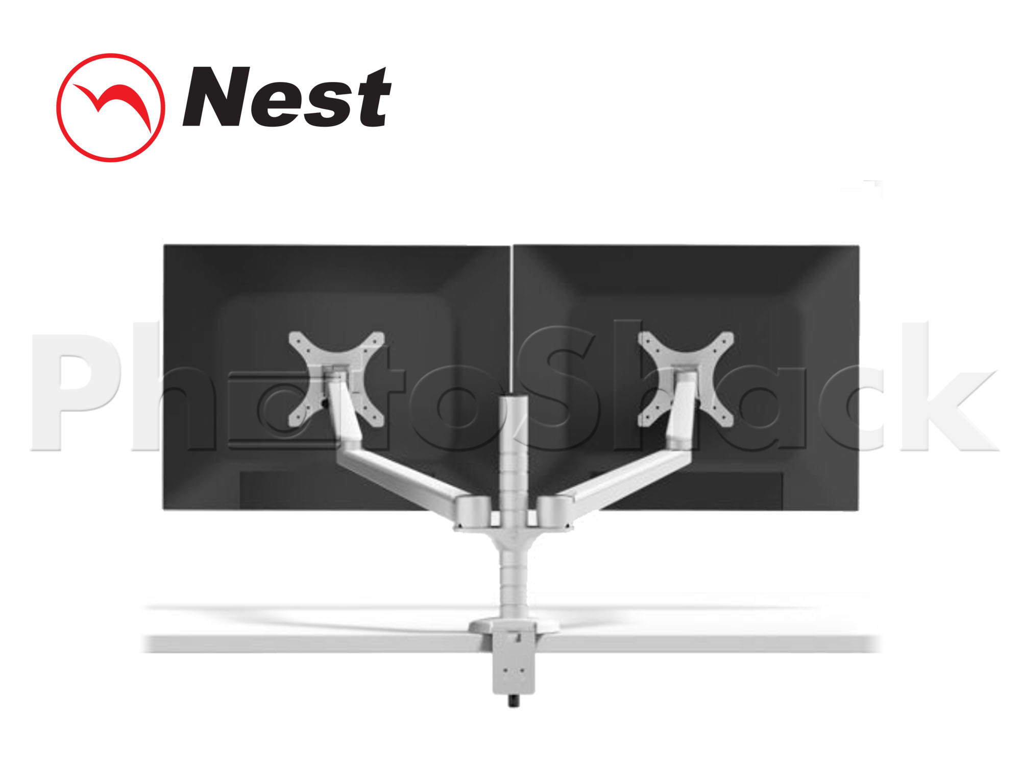 "Articulating Dual Arm Mount for 27"" LCDs - SILVER"