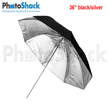 3 Fold Umbrella Black/ Silver 36""