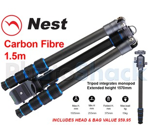 Nest 1.5m Carbon Fibre Tripod 5 section