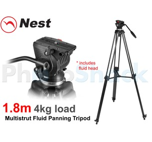 1.8m Fluid Panning Video Tripod - Nest NT-777
