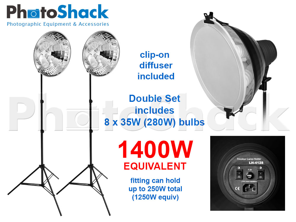 Continuous Lighting Set (1400W) with 2 Lights + Reflectors + Diffusers