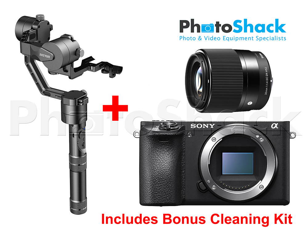 Zhiyun Crane v2 & Sony a6500 Bundle With Sigma 30mm Lens - Bonus Cleaning Kit