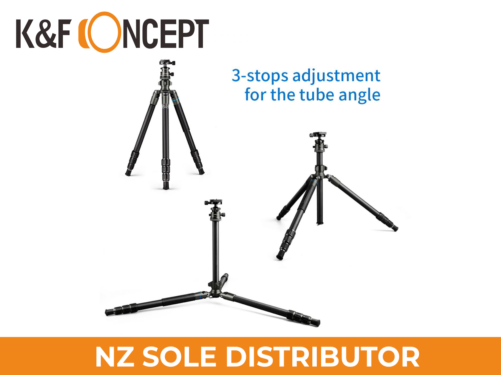 K&F Concept TC2634 (Black) Carbon Fibre Tripod Lightweight Portable for Travel Photography