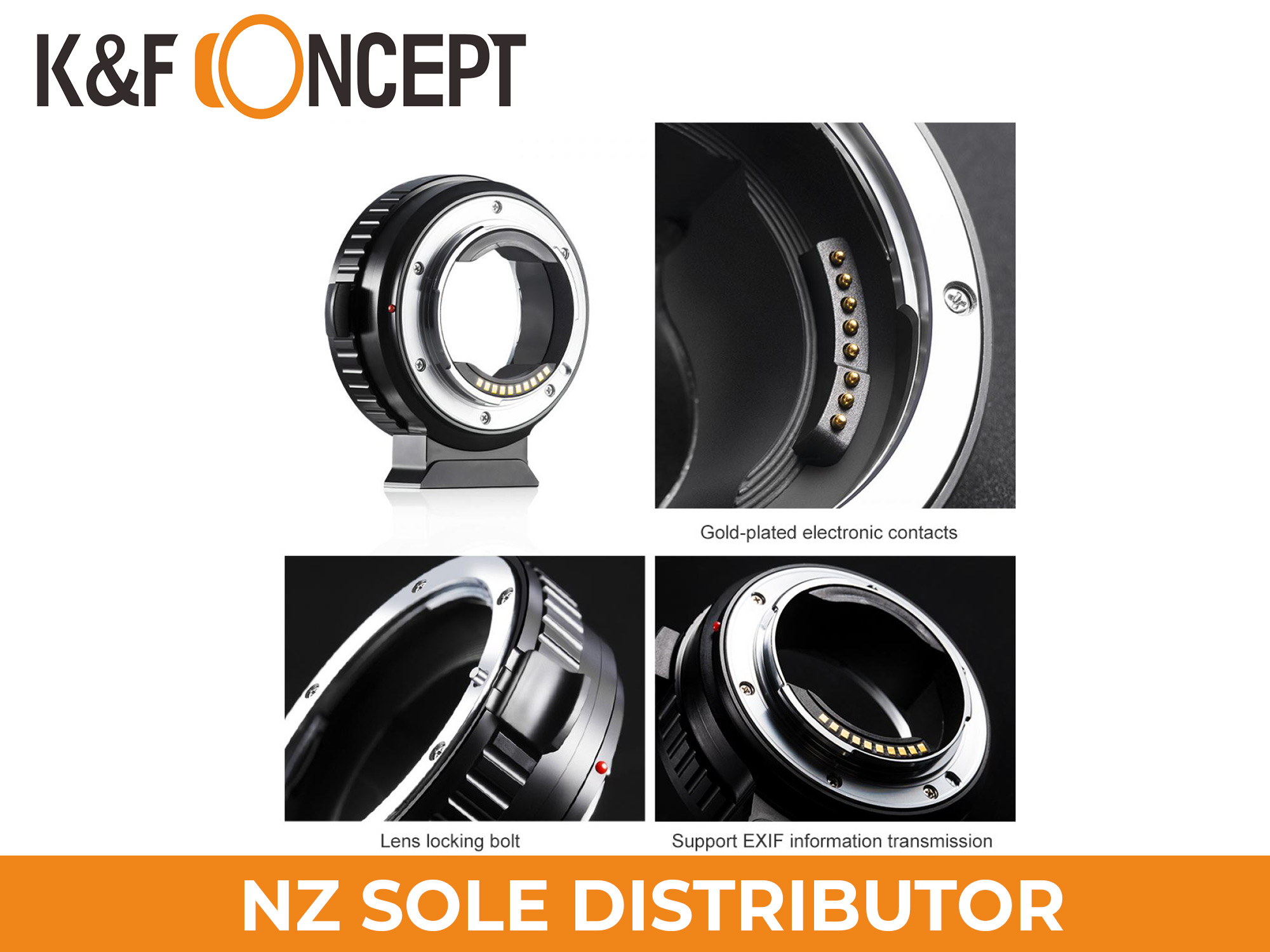 K&F Concept Fully Automatic Focusing Electronic Adapter Ring - EOS-E with Mounting Bracket