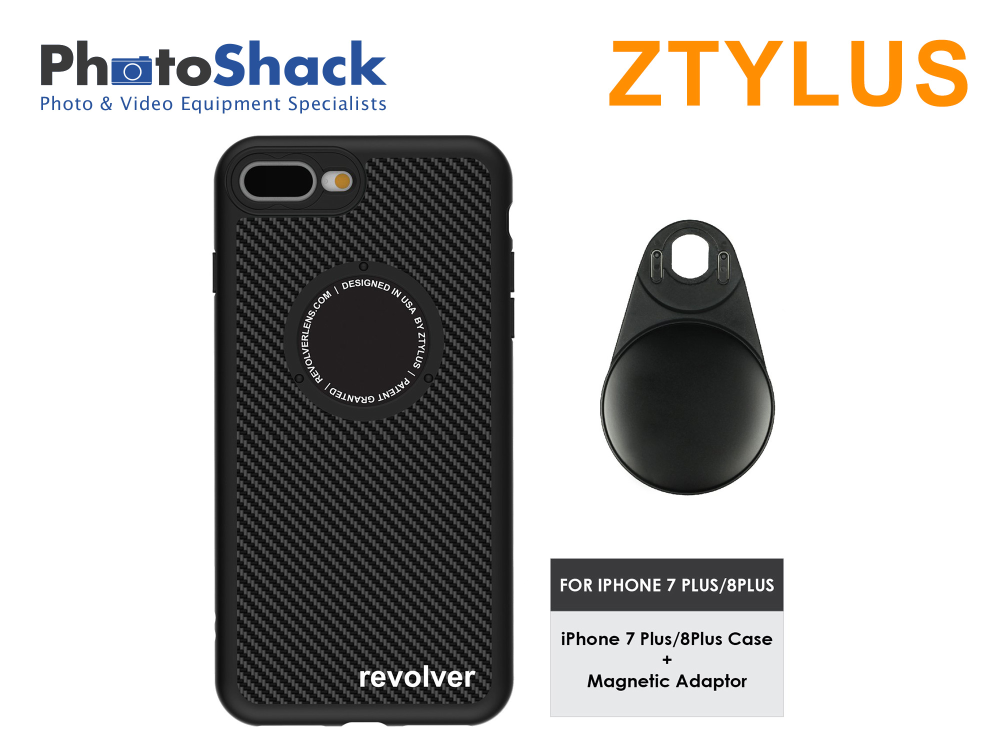 Ztylus iPhone Case (carbon fiber) for iPhone 7+ 7P / 8+ 8P and Magnetic Adapter