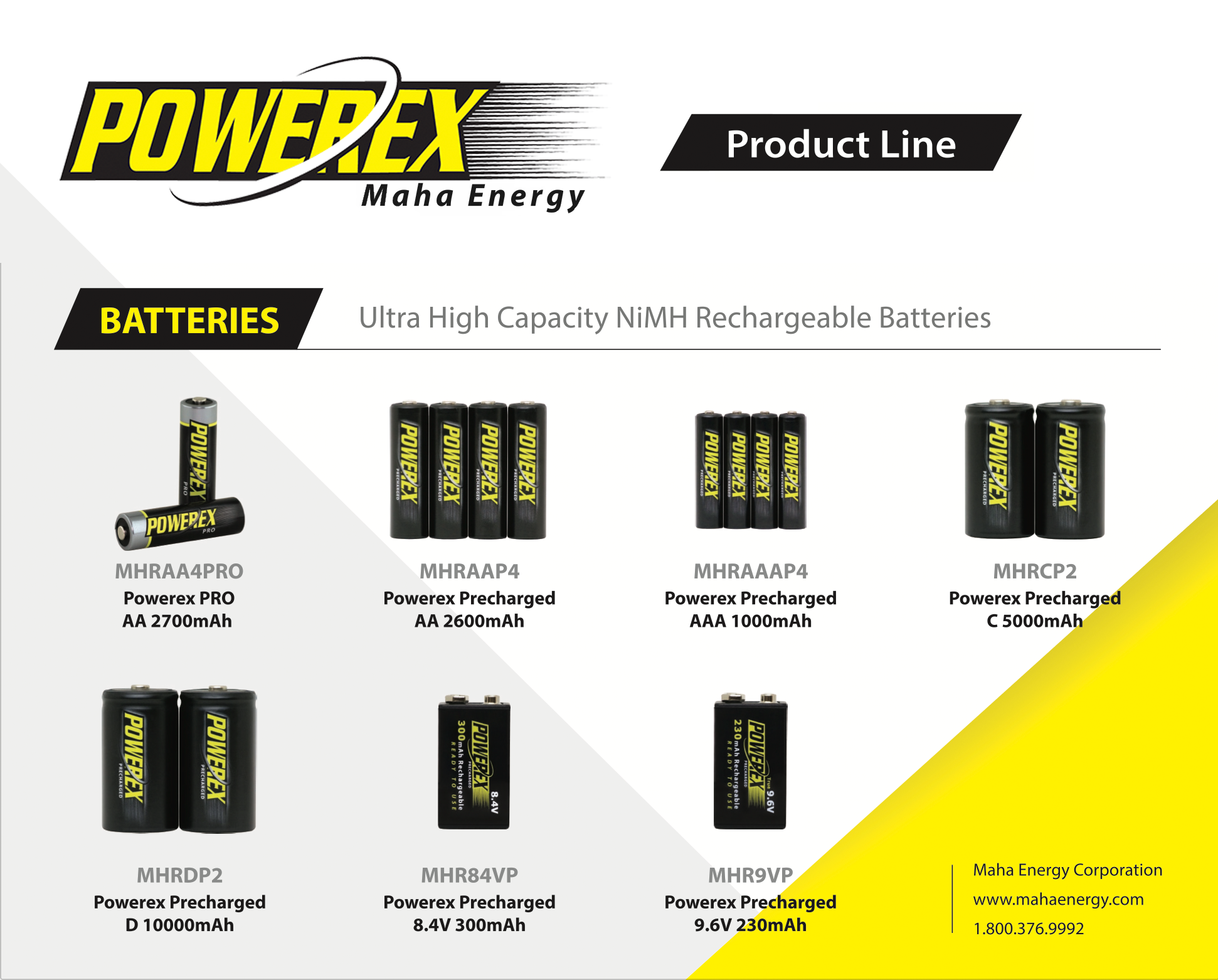 Maha Powerex PRECHARGED - 9.6V Battery - 230mAh