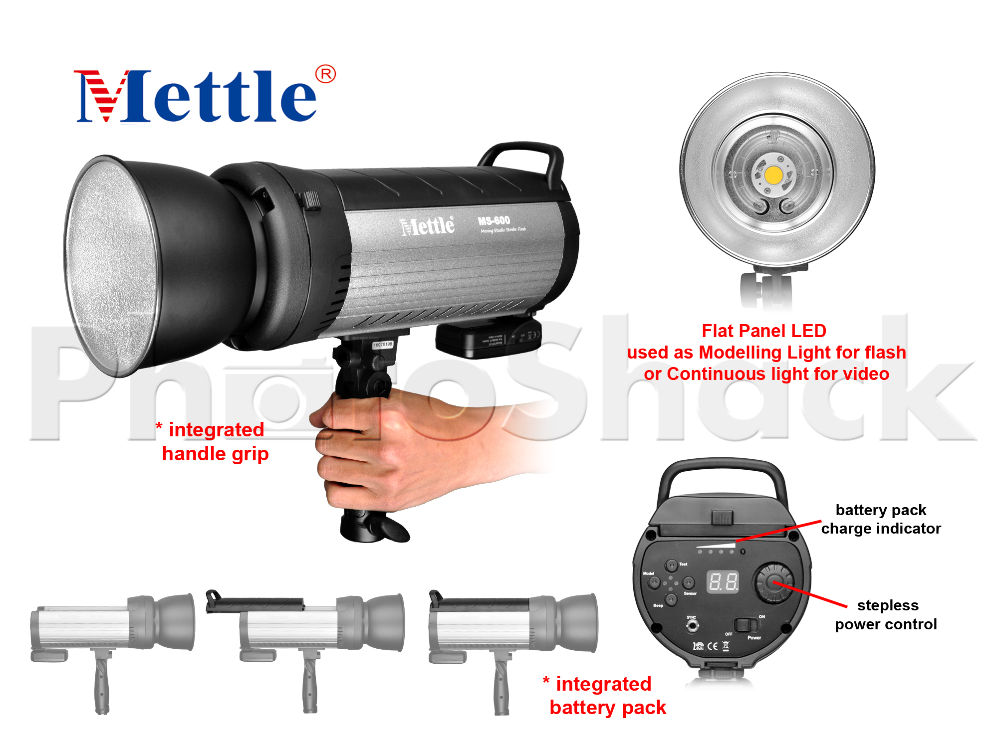Studio Flash - 600W - Mettle MS600A