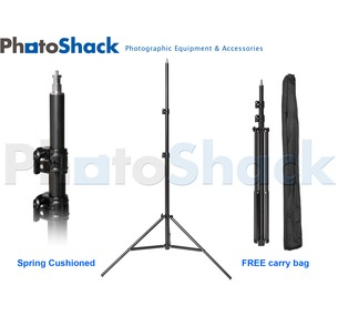 Pro Studio Light Stand 2.5m - Spring Cushioned with Carry Bag