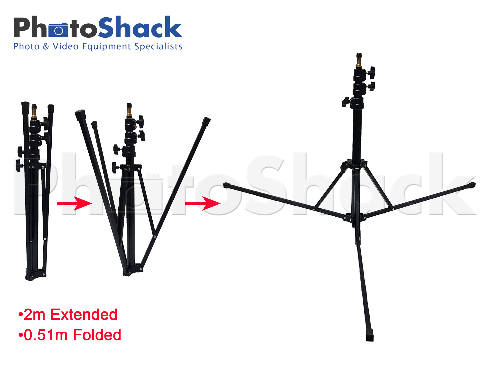 Compact Folding Light Stand 2m