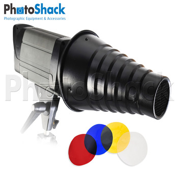 Snoot for Studio Lights with Honey Comb & 4 Color Gels (Bowens or Elinchrom)