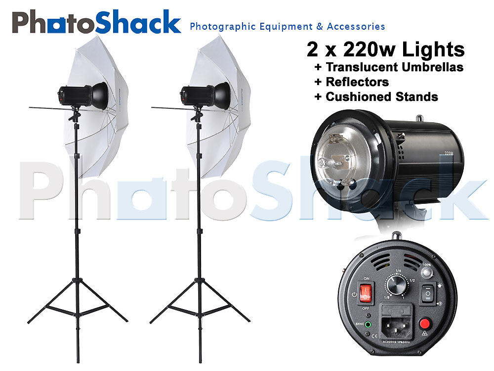 Studio Flash Light Set with Umbrella - 440W (2x220W)