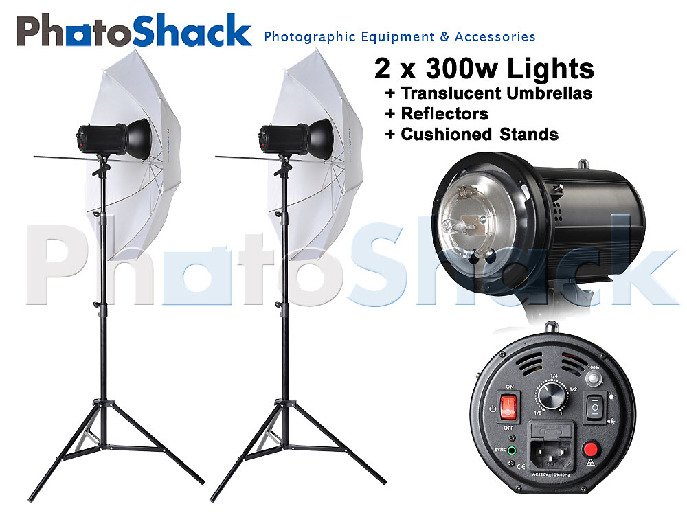 Studio Flash Light Set with Umbrella - 600W (2x300W)