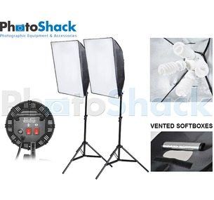 Continuous Lighting Set (6000W) with 2 Lights + Vented Softboxes