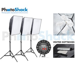 Continuous Lighting Set (9000W) with 3 Lights + Vented Softboxes