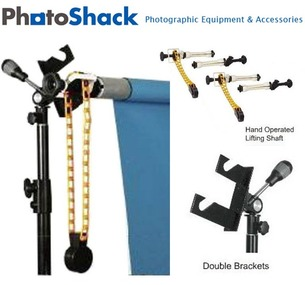 Background Support System Set: Double Brackets (Holds 2) + Roller & Chain + Stand