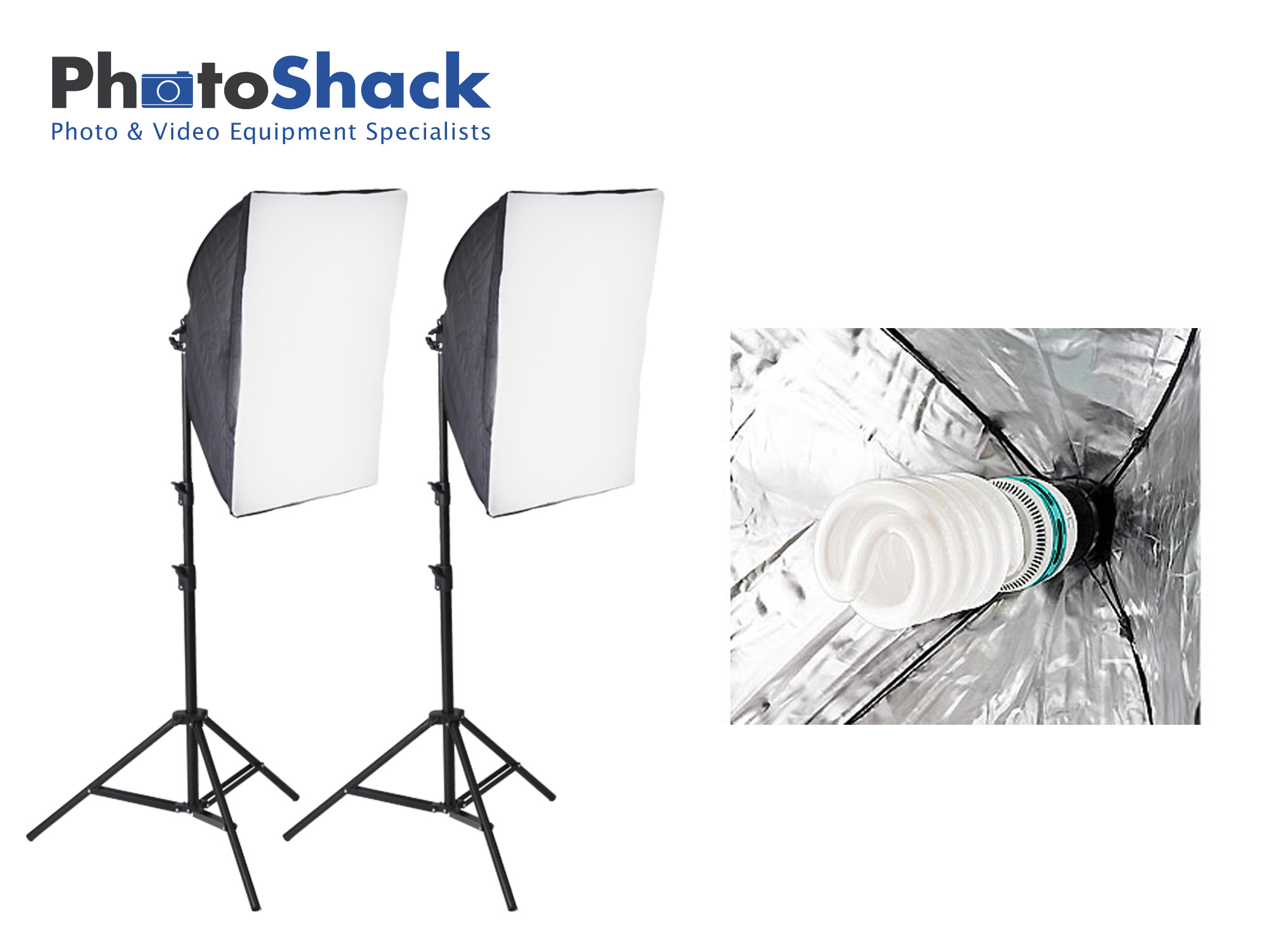 Continuous Lighting Set (850W) with 2 Lights + Softboxes