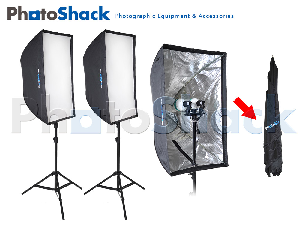 Continuous Cool Light Set (Equiv 1700W) with Collapsible Softboxes