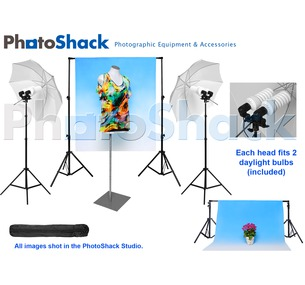 Complete Cool Light Package with Umbrella Set + 1.5m Backdrop