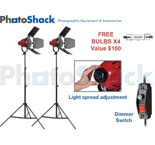Red Head (w/ Heat Rings) Continuous (800w) 2 Light Stand Set