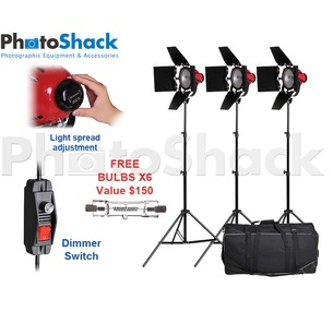 Redhead Continuous Light 800w 3 Light Set with carry bag