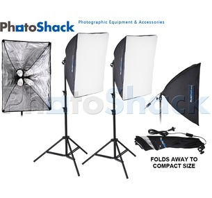 Continuous Lighting Set (1400W) with Lamp Holder + Softboxes