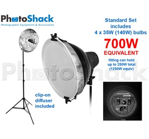 Continuous Lighting Set (700W) with 1 Light + Reflector + Diffuser