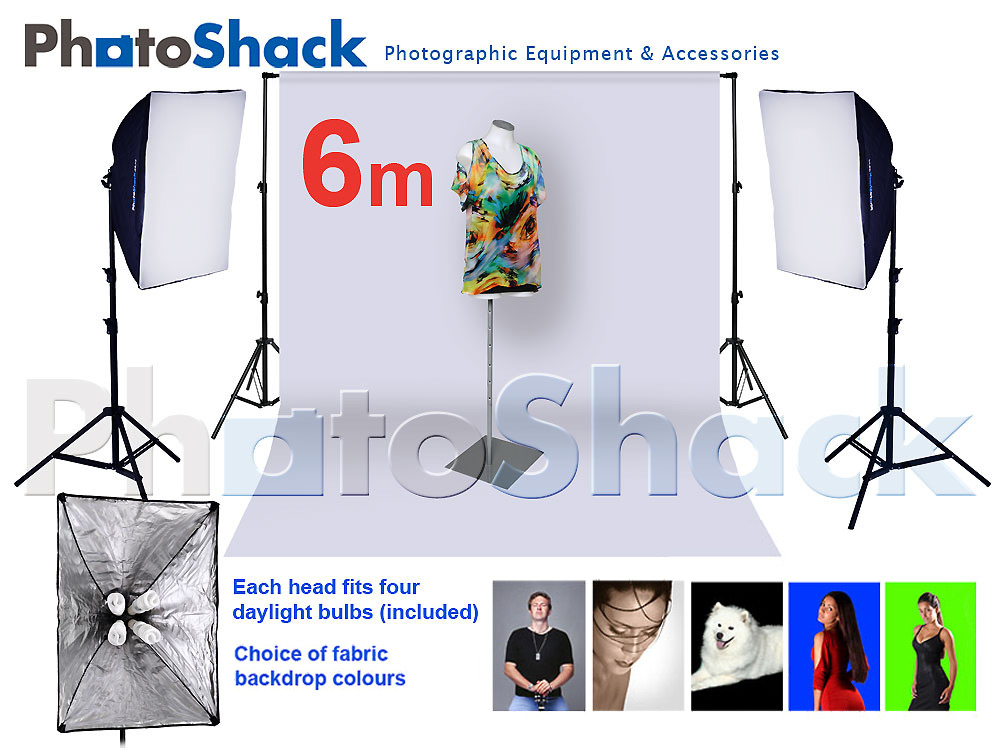 Complete Cool Light Package with Softbox Set + 6m backdrop
