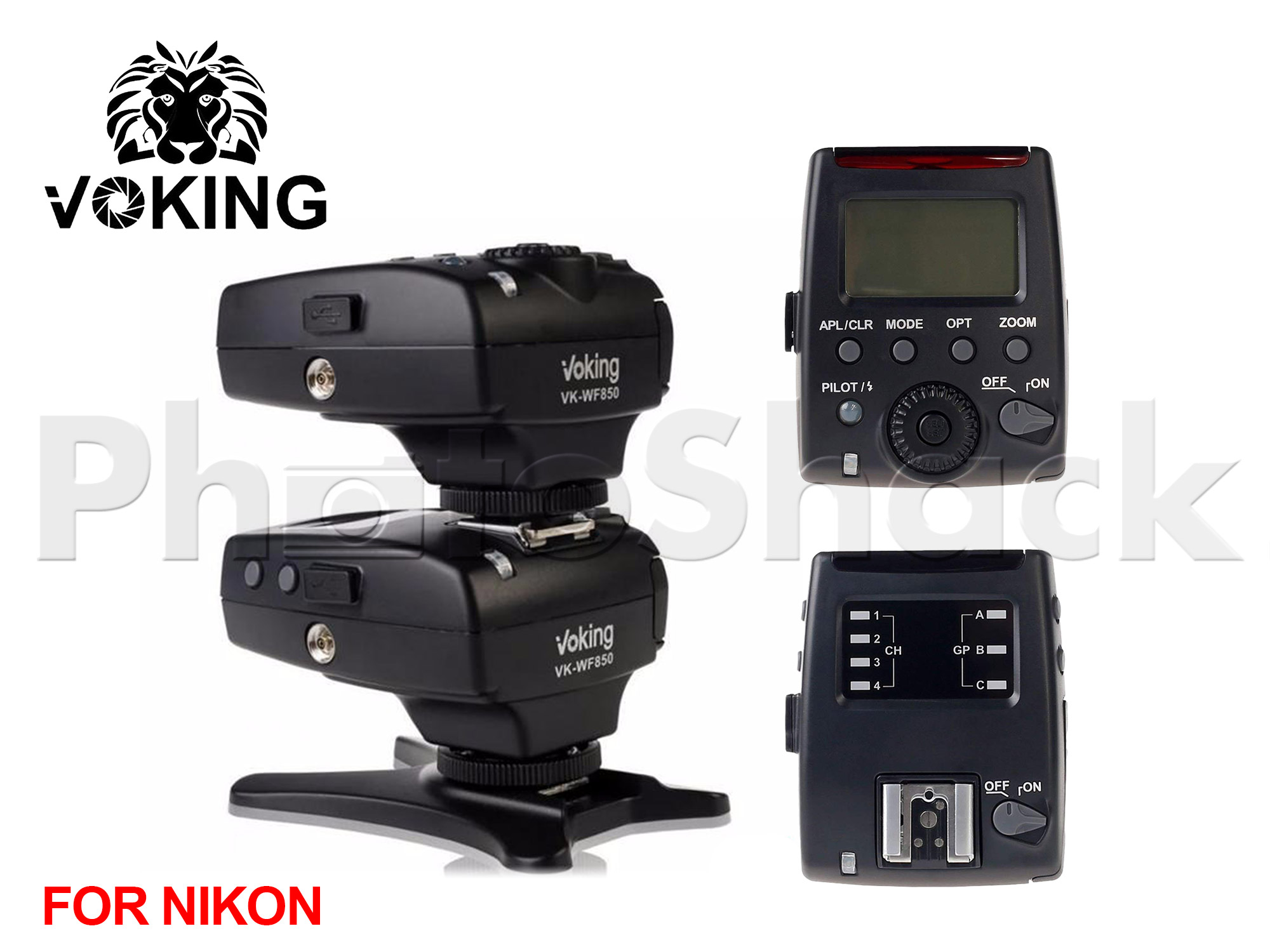 Voking VK-WF850 Receiver 2.4G Wireless 1/8000s HSS E-TTL Flash Trigger for Nikon