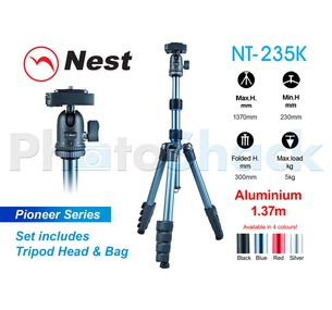Nest 1.37m Aluminium Tripod 5 Section - NT235Kblack