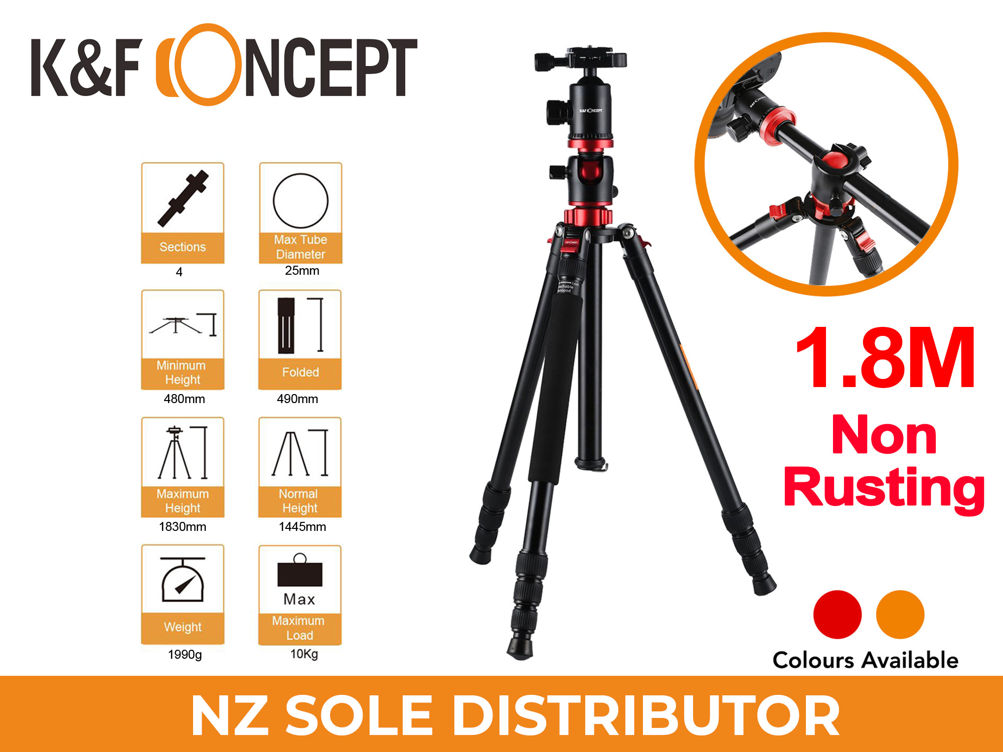 1.83m BOOM Tripod TM2534 RED - K&F Professional