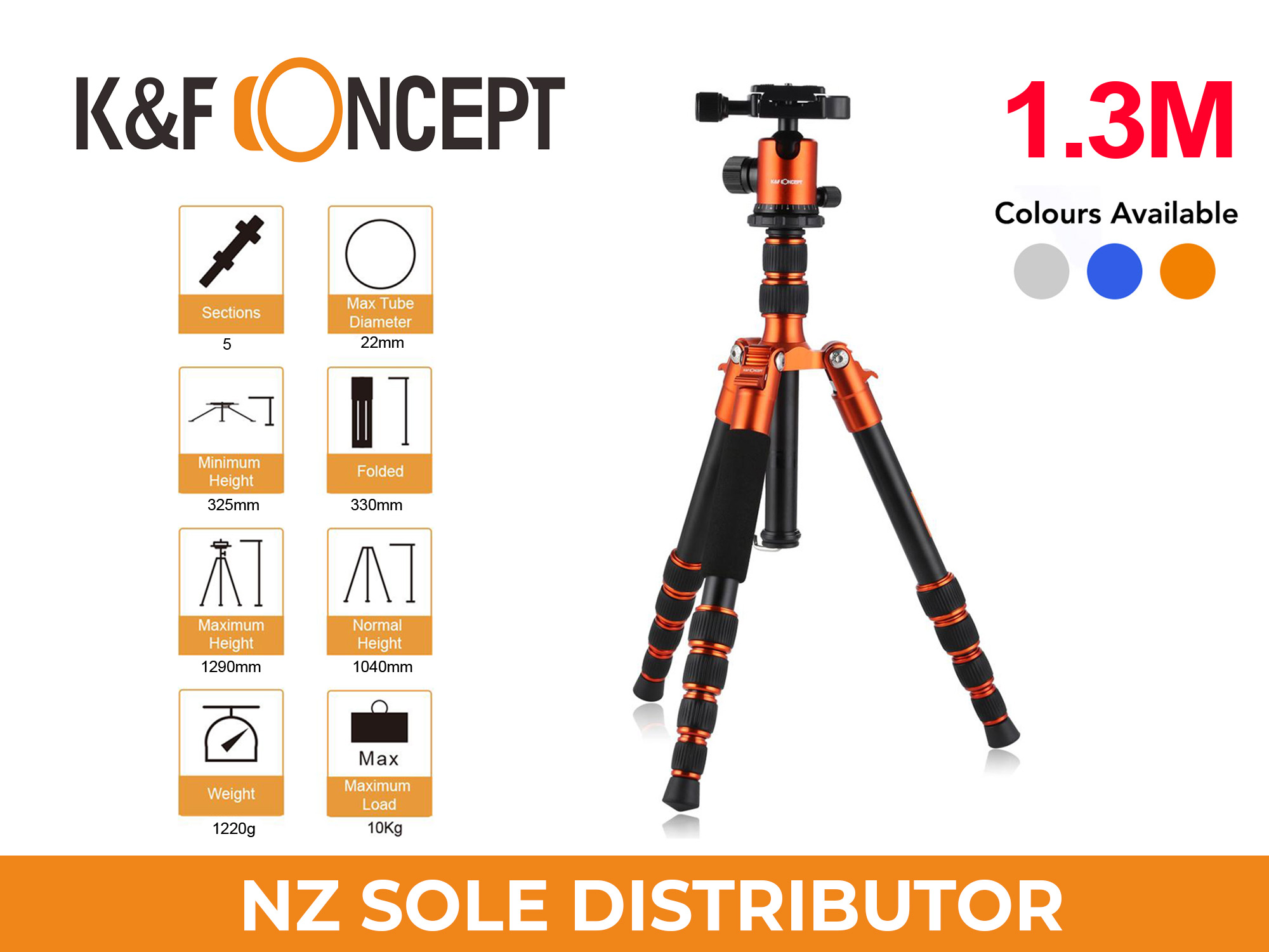 1.3m Travel Tripod TM2235 ORANGE - K&F Concept