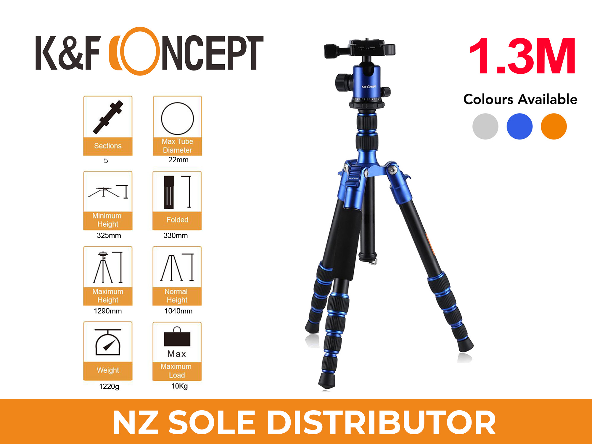 1.3m Travel Tripod TM2235 BLUE - K&F Concept