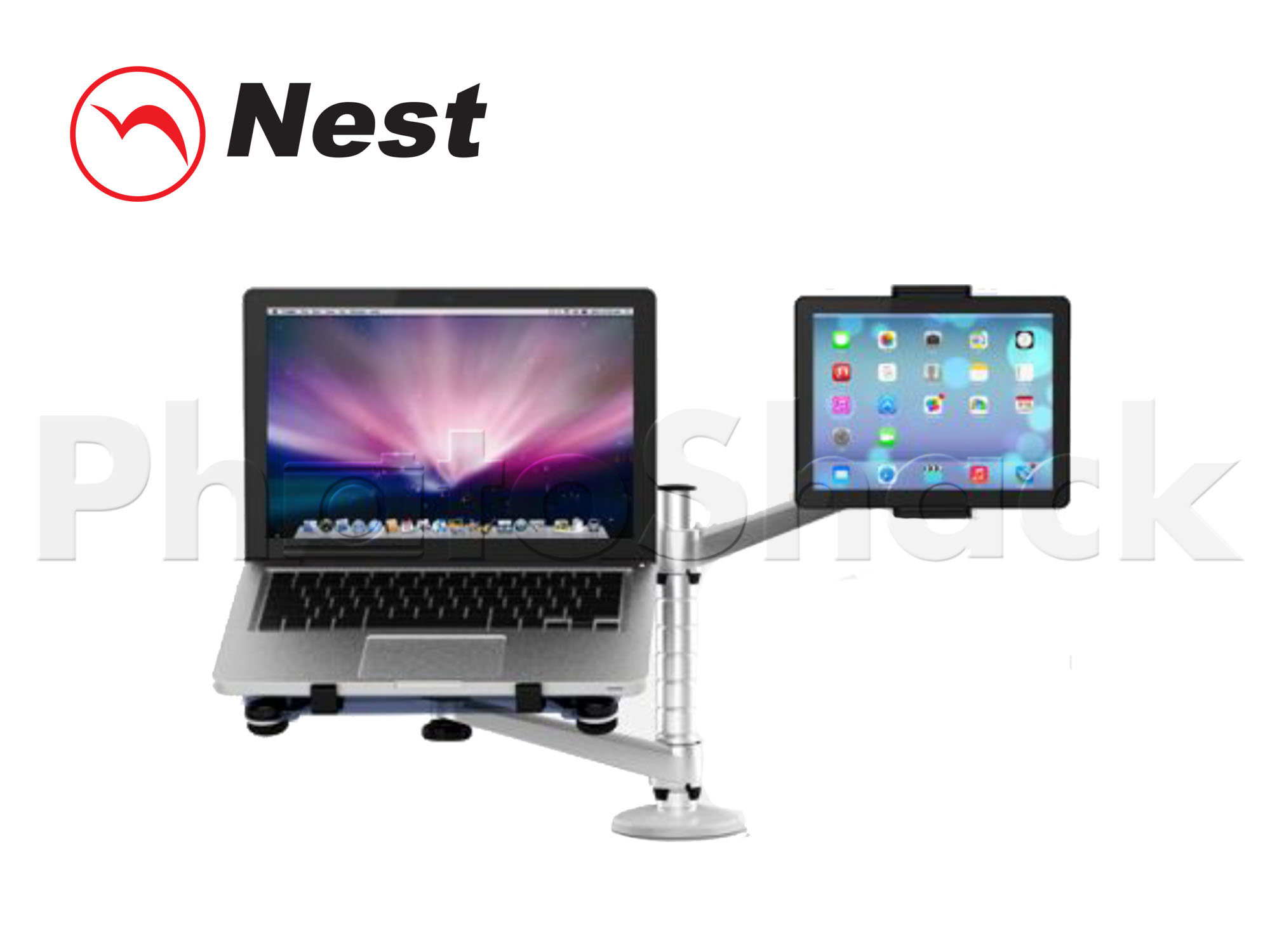 Dual Mount for Laptop + Tablet - SILVER
