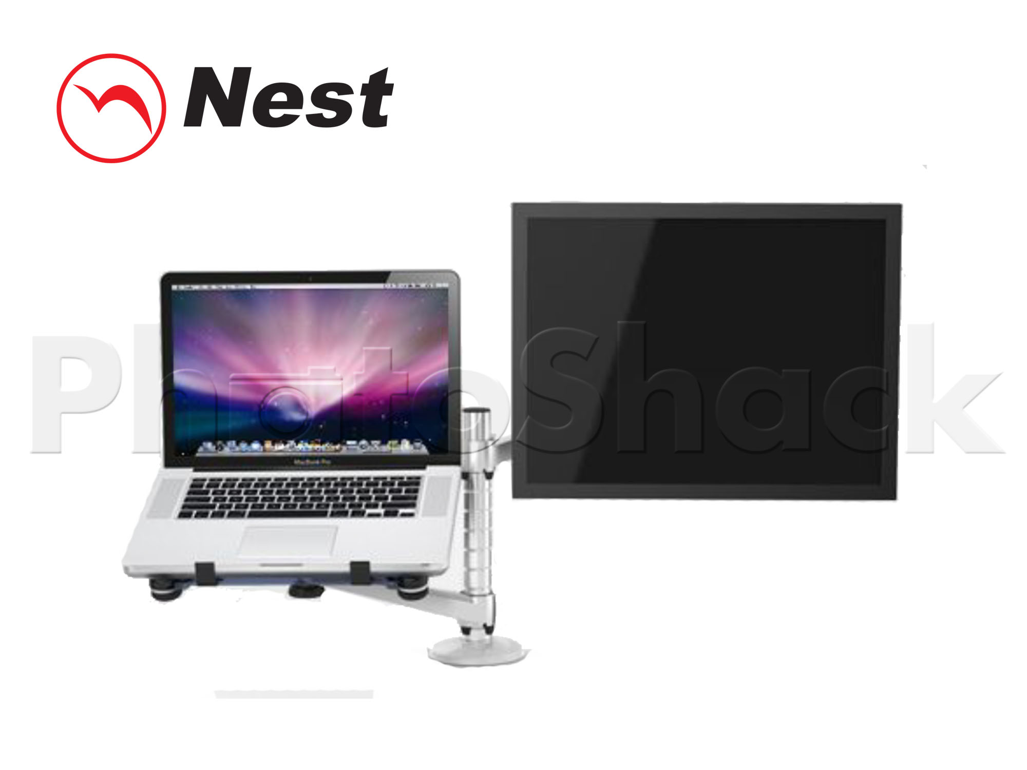 Dual Mount for LCD + Laptop - SILVER