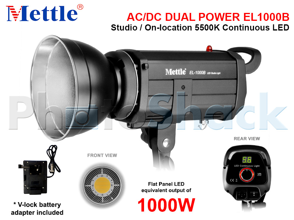 Studio LED Light - equiv 1000W - AC/DC Dual Power - Mettle EL1000B