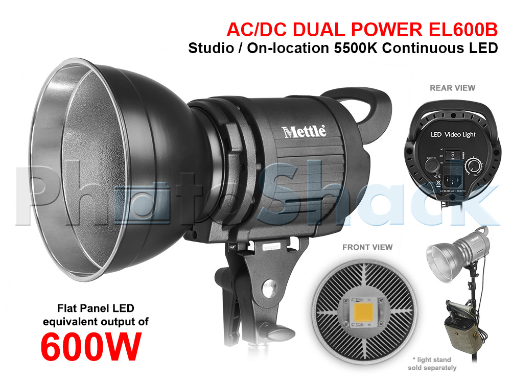 Studio LED Light - equiv 600W - AC/DC Dual Power - Mettle EL600B