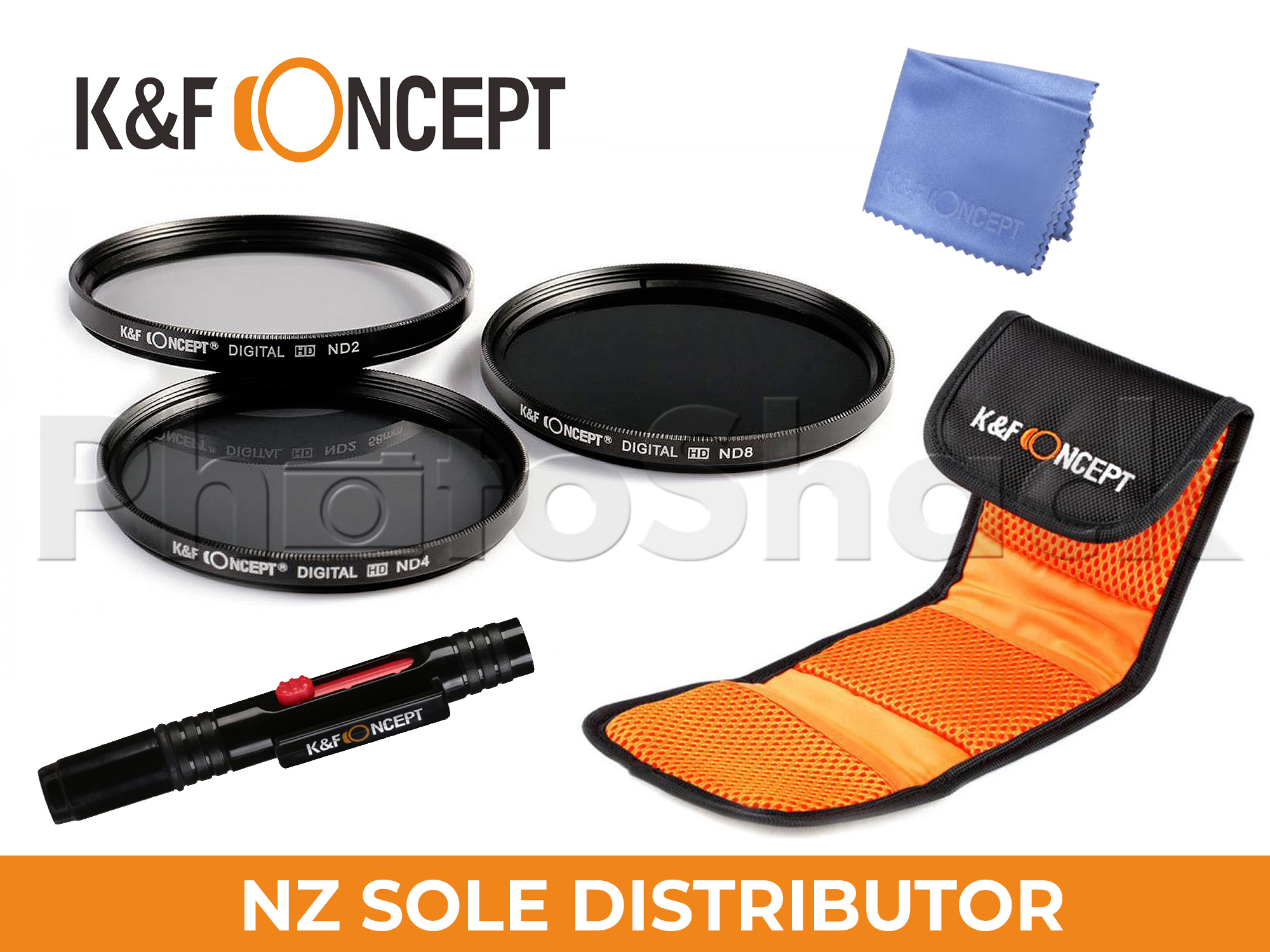 KNDSetP77 - Neutral Density ND2 + ND4 + ND8 Filter Set w/ Cleaning Pen