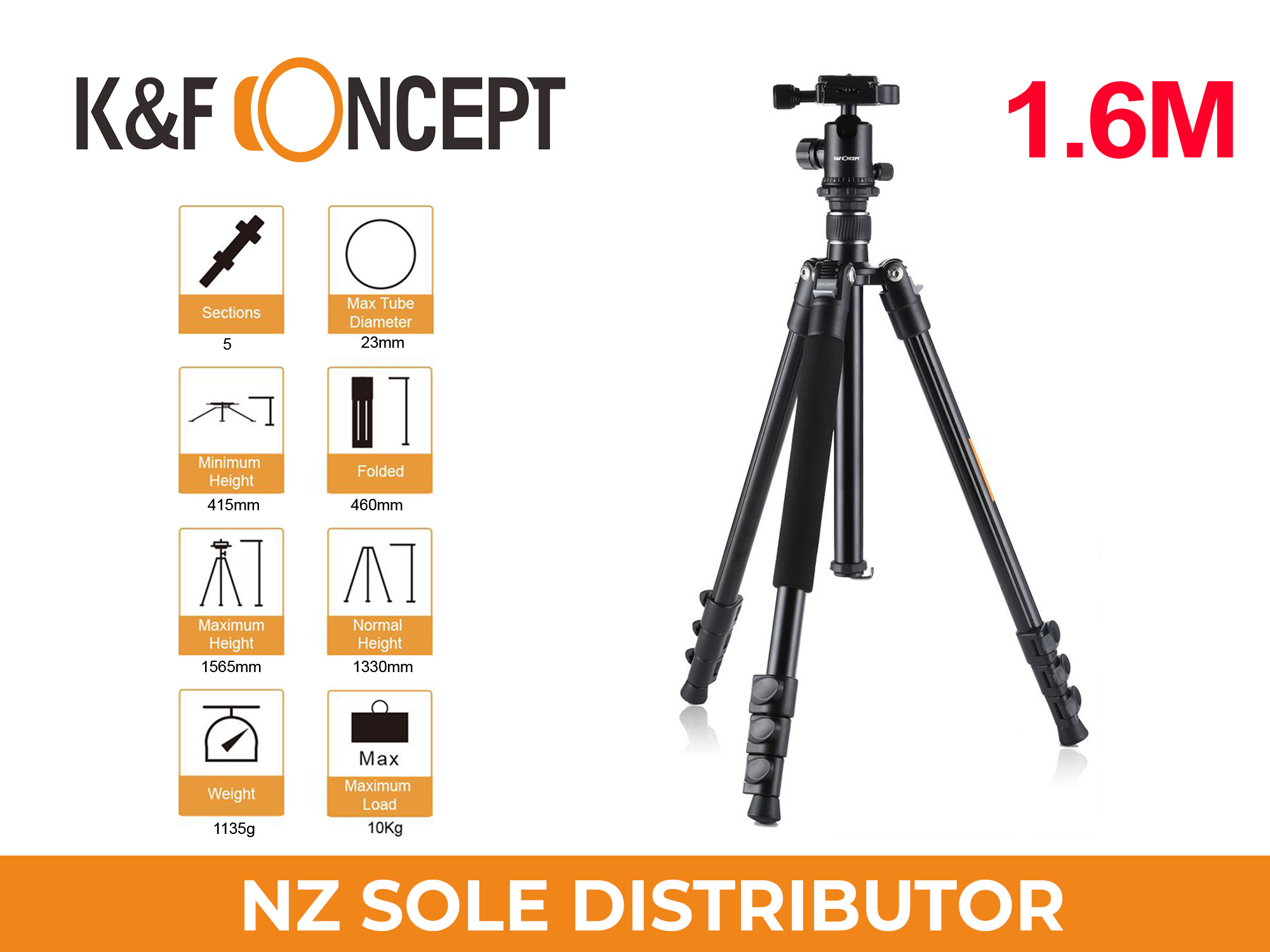 Lightweight Travel Tripod 1.6m Aluminum Ball Head 4 Sections (KF09.029 Black-Orange)