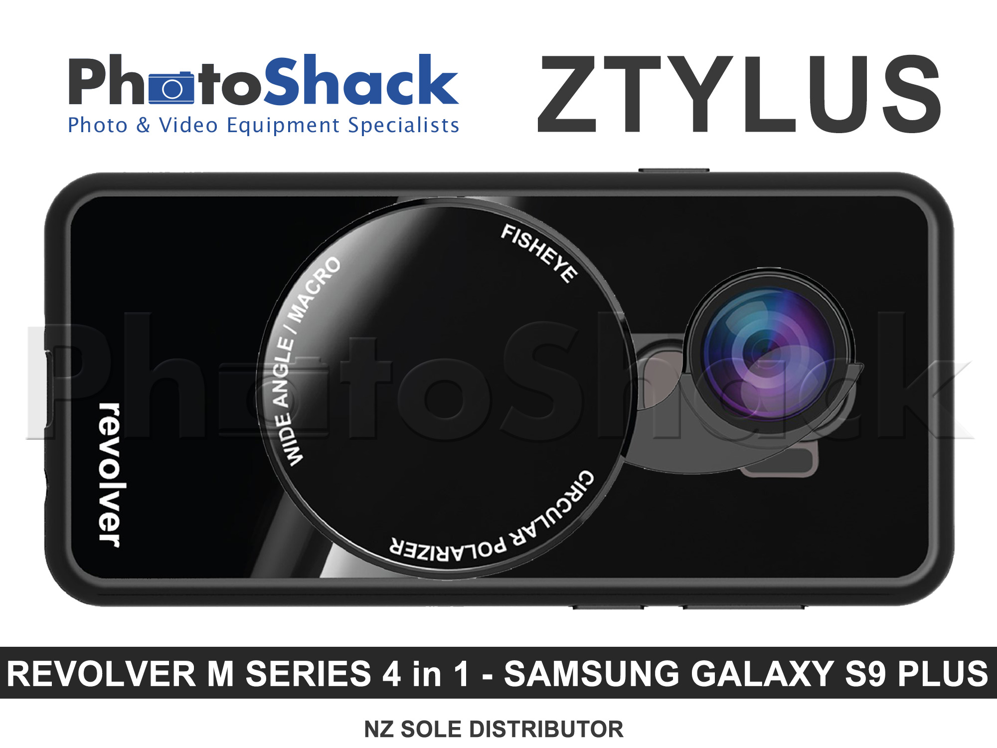 Ztylus Magnetic 4 in 1 Revolver Lens Kit with Samsung Galaxy S9 Plus Case - Gloss Black