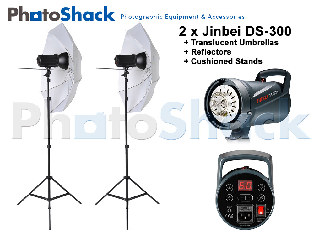 Jinbei DS-300 light set with Umbrella - 600W (2x300W)