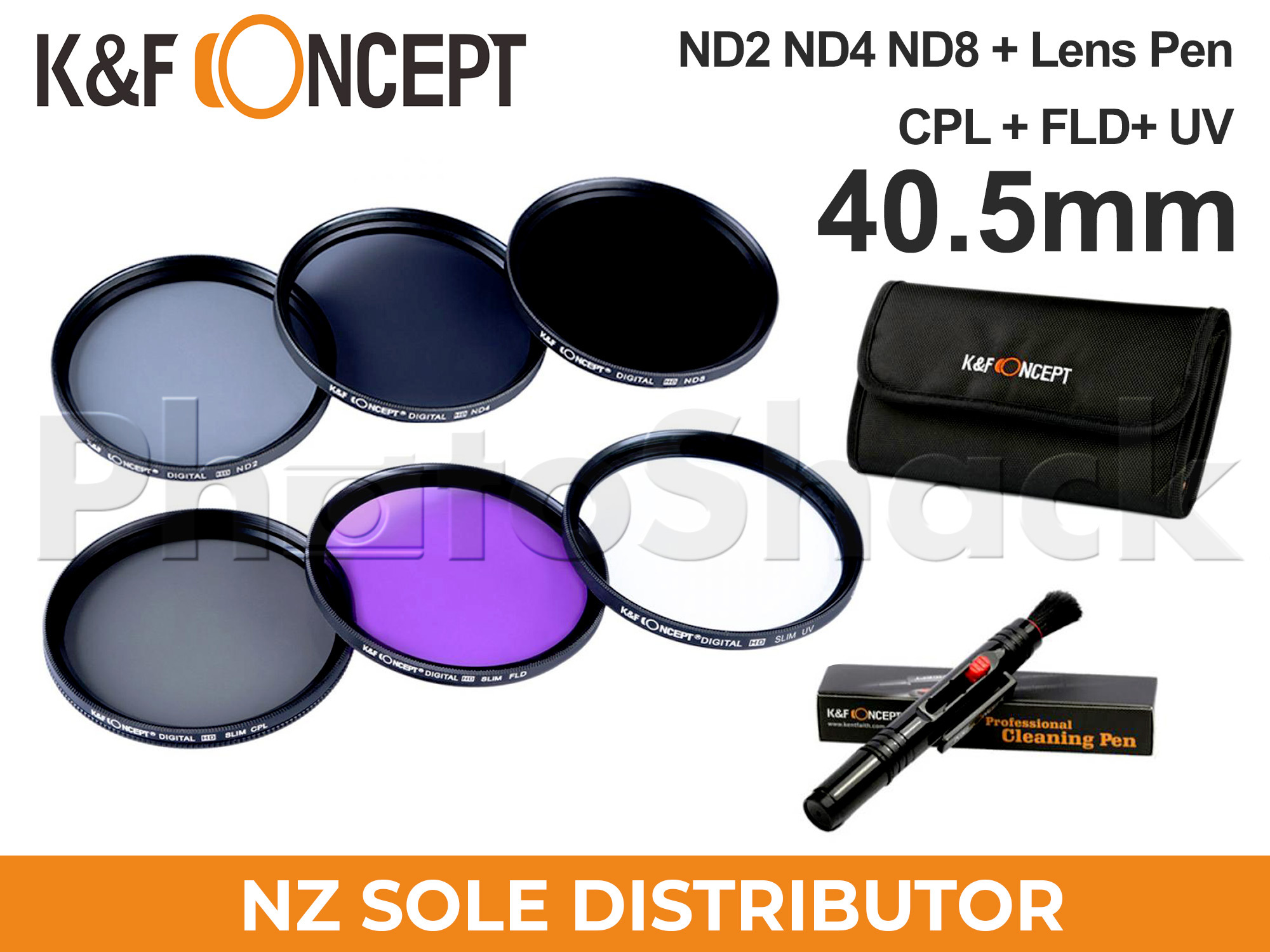KNDSetP40.5 - Neutral Density ND2 + ND4 + ND8 Filter Set w/ Cleaning Pen + Pouch