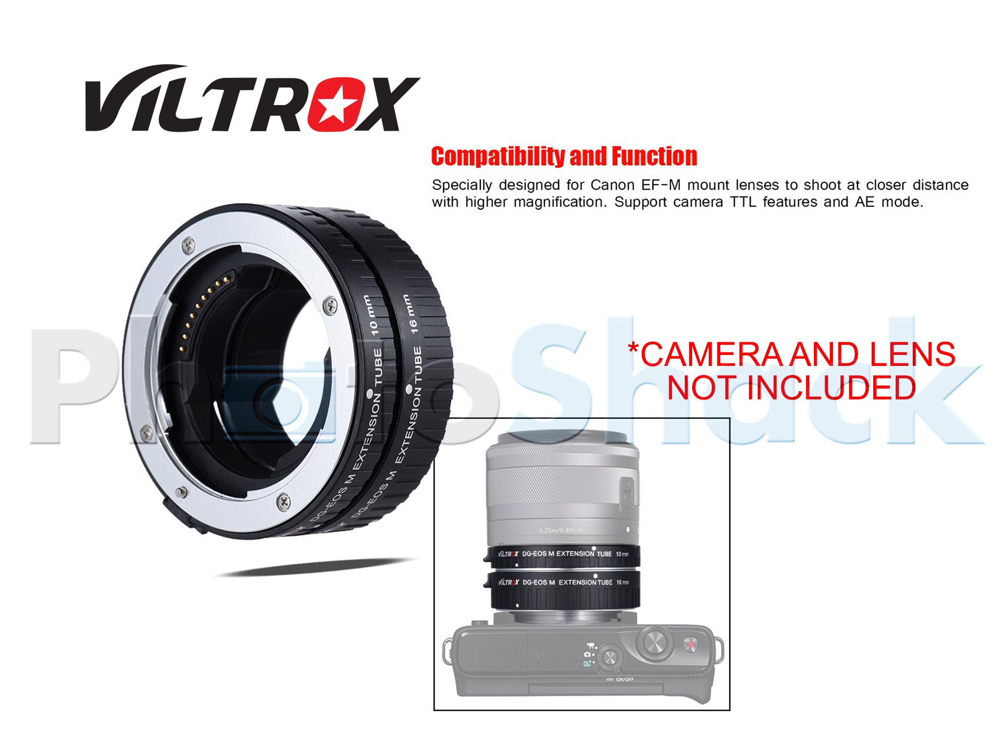 Viltrox DG-EOS M Extension Tube 10mm / 16mm AF for Canon EF-M Series