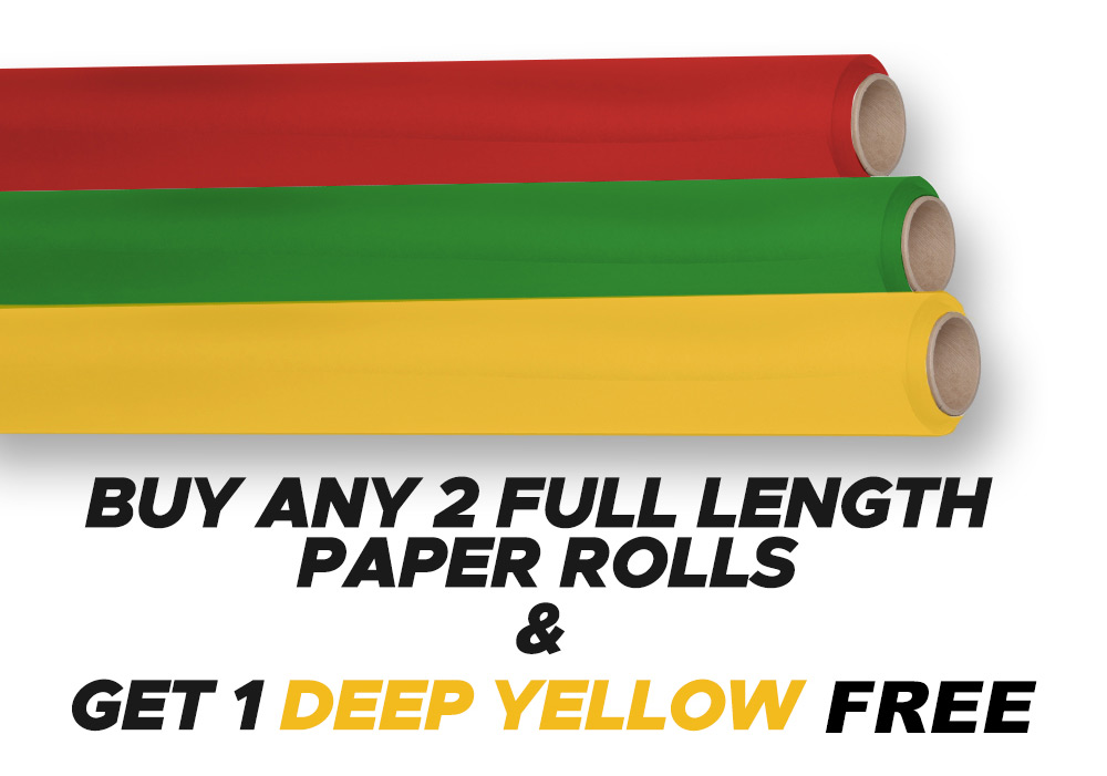 Buy Any 2 Full Length Paper Rolls - Get 1 Full Length Deep Yellow Paper Roll FREE