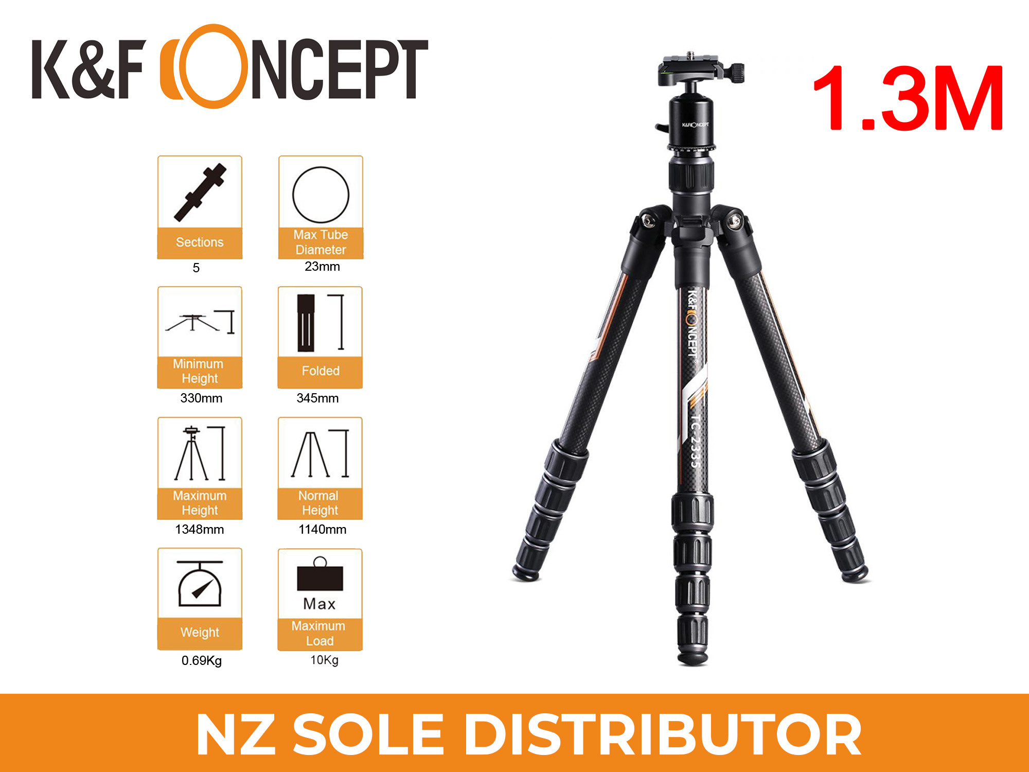K&F Concept TC2335 Carbon Tripod Lightweight for Travel Photography