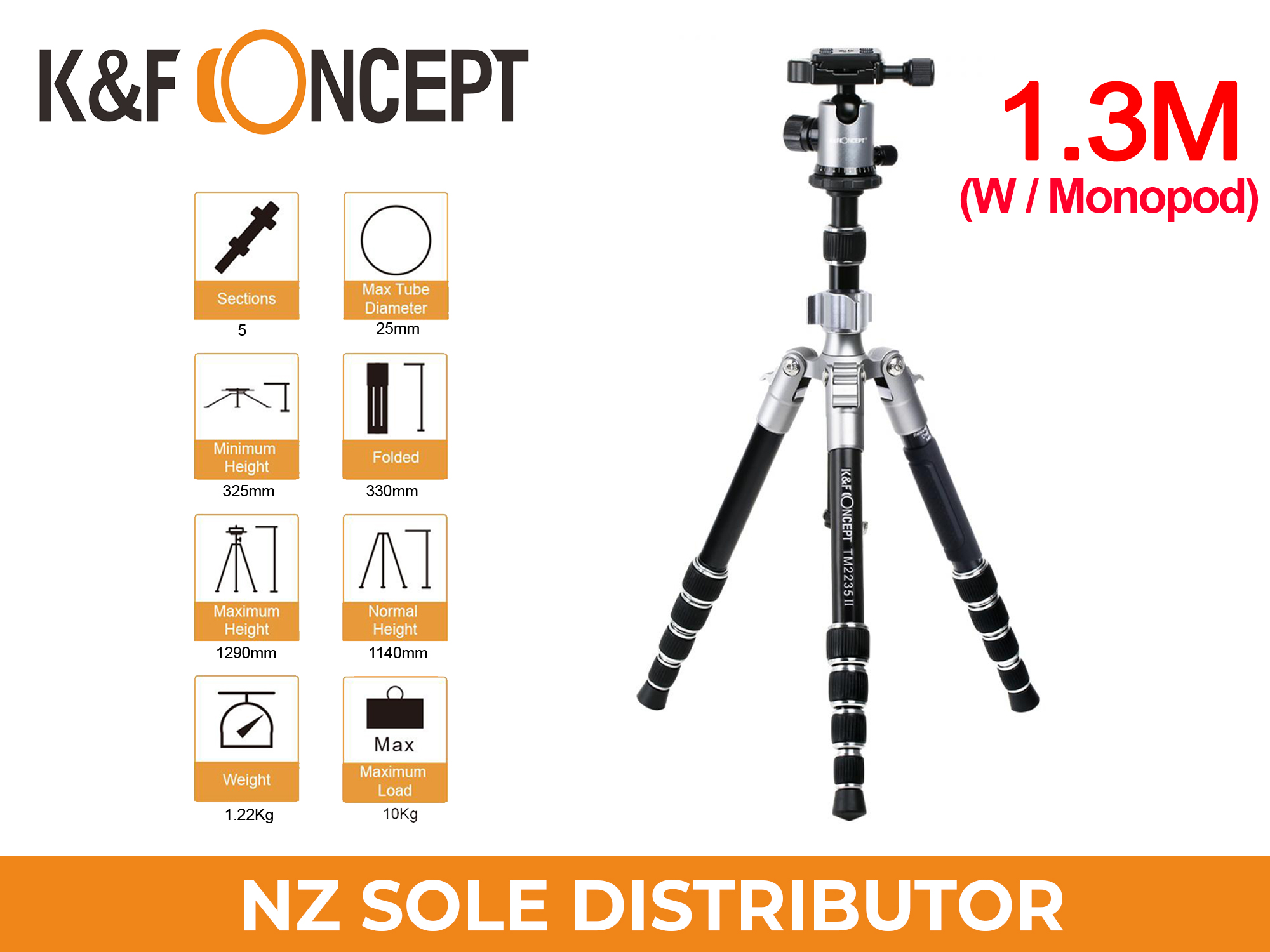 K&F Concept TM2235 II Lightweight DSLR Camera Aluminum Tripod With Monopod